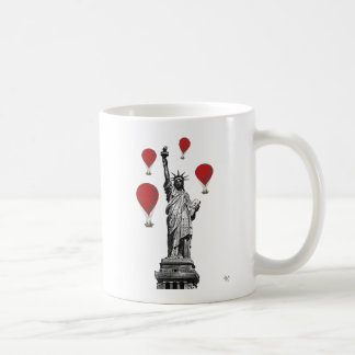 Statue Of Liberty and Red Hot Air Balloons Coffee Mug