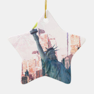 Statue of Liberty and tennnis ball Ceramic Ornament