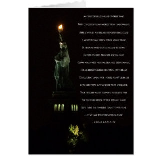 Statue of Liberty At Night/Emma Lazarus Poem Card