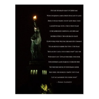 Statue of Liberty At Night/Emma Lazarus Poem Postcard