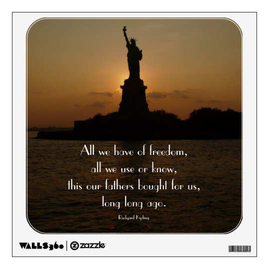 Statue Of Liberty Quote Stunning Statue Of Liberty At Sunsetwith Freedom Quote Wall Decal Zazzle