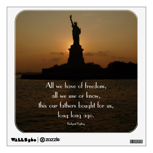 Statue of Liberty at Sunset-with Freedom Quote Wall Decal