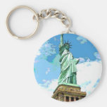 Statue of Liberty Basic Round Button Keychain