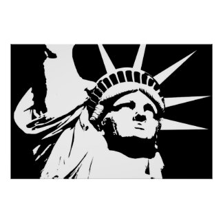 Statue of Liberty, Black and White Design Poster