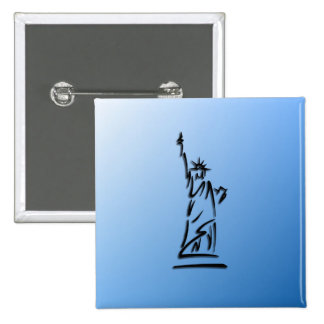 Statue of Liberty Blue 2 Inch Square Button