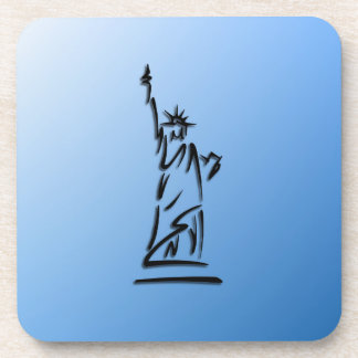 Statue of Liberty Blue Drink Coaster