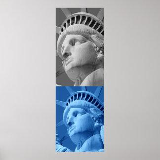 Statue of Liberty Blue Grey Pop Art Poster Print