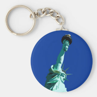 Statue of Liberty & Blue Sky Basic Round Button Keychain