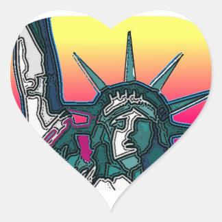 Statue of Liberty - Bright Back Heart Sticker