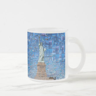 statue of liberty collage - statue of liberty art frosted glass coffee mug