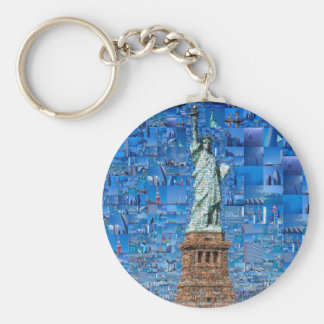 statue of liberty collage - statue of liberty art keychain