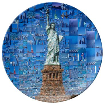 statue of liberty collage - statue of liberty art porcelain plate