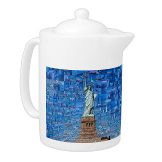 statue of liberty collage - statue of liberty art teapot