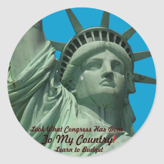Statue of Liberty Crying Classic Round Sticker
