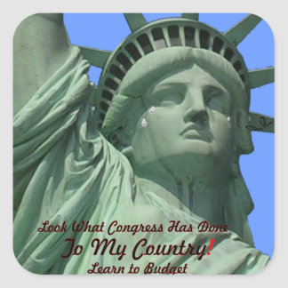 Statue of Liberty Crying Square Sticker