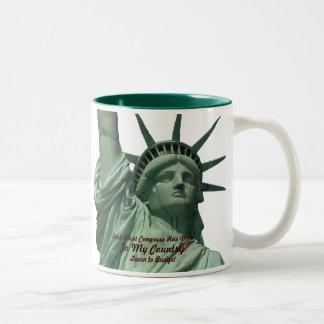 Statue of Liberty Crying Two-Tone Coffee Mug