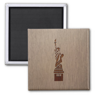 Statue of Liberty engraved on wood design 2 Inch Square Magnet