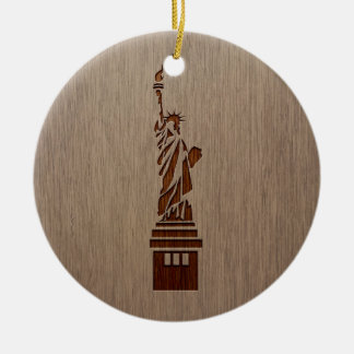 Statue of Liberty engraved on wood design Ceramic Ornament