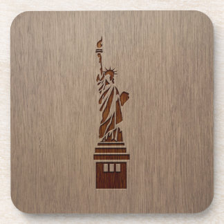Statue of Liberty engraved on wood design Drink Coaster