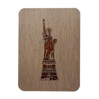Statue of Liberty engraved on wood design Magnet