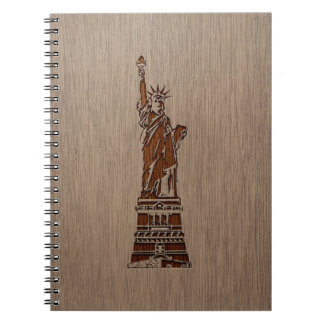 Statue of Liberty engraved on wood design Notebooks
