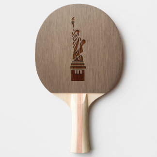 Statue of Liberty engraved on wood design Ping Pong Paddle