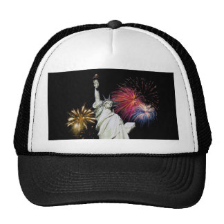 Statue of Liberty - Fireworks Background Trucker Hat