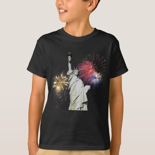 Statue of Liberty - Fireworks Background T-Shirt