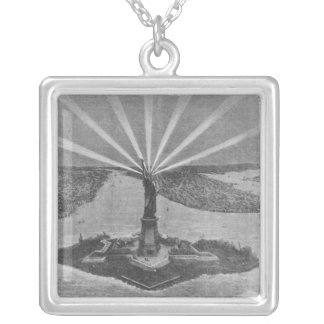 Statue of Liberty, from 'The Graphic' Square Pendant Necklace