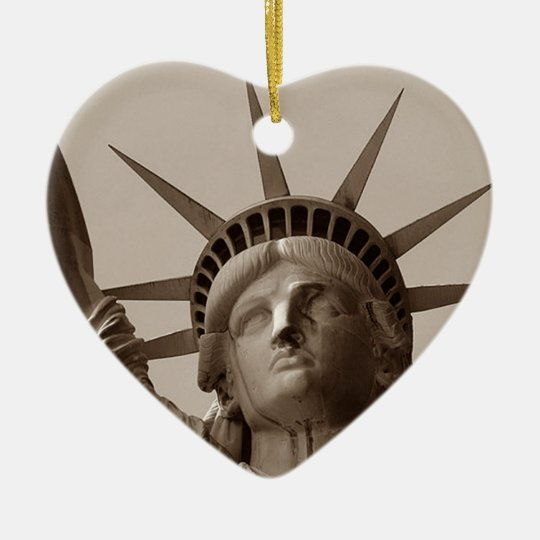 Statue of Liberty genealogy Gifts Irish Tricolour Ceramic Ornament