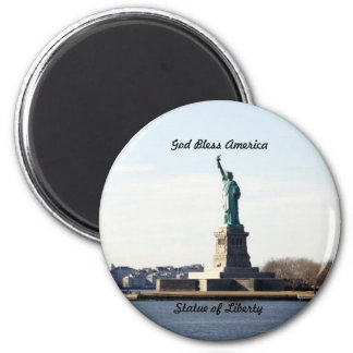 Statue of Liberty, God Bless America 2 Inch Round Magnet