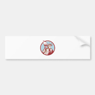 Statue of Liberty Holding Flaming Torch Circle Ret Bumper Sticker