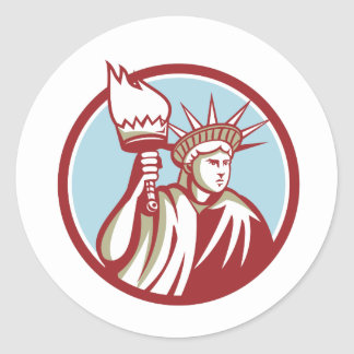 Statue of Liberty Holding Flaming Torch Circle Ret Classic Round Sticker