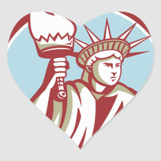 Statue of Liberty Holding Flaming Torch Circle Ret Heart Sticker
