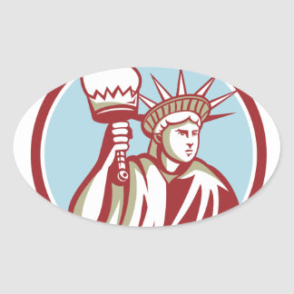 Statue of Liberty Holding Flaming Torch Circle Ret Oval Sticker