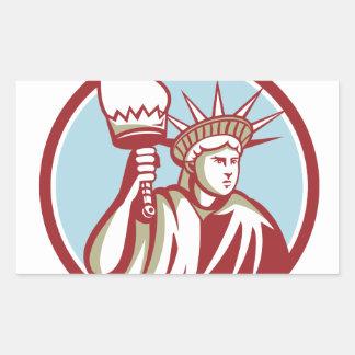 Statue of Liberty Holding Flaming Torch Circle Ret Rectangular Sticker
