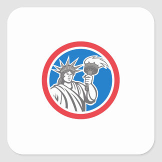 Statue of Liberty Holding Flaming Torch Circle Ret Square Sticker