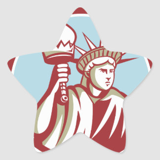 Statue of Liberty Holding Flaming Torch Circle Ret Star Sticker