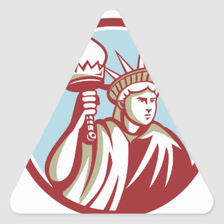 Statue of Liberty Holding Flaming Torch Circle Ret Triangle Sticker