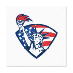 Statue of Liberty Holding Flaming Torch Shield Gallery Wrapped Canvas