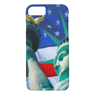 Statue Of Liberty Holding Torch US Flag Background iPhone 7 Case