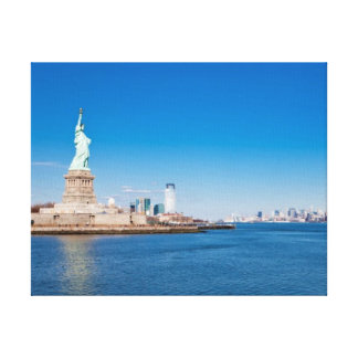 Statue of Liberty, Hudson River and Manhattan Canvas Print