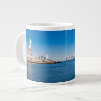 Statue of Liberty, Hudson River and Manhattan Large Coffee Mug