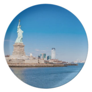 Statue of Liberty, Hudson River and Manhattan Melamine Plate