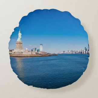Statue of Liberty, Hudson River and Manhattan Round Pillow