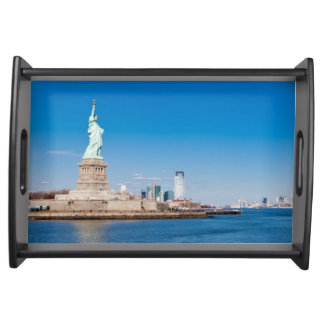 Statue of Liberty, Hudson River and Manhattan Serving Tray