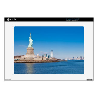 """Statue of Liberty, Hudson River and Manhattan 15"""" Laptop Skins"""