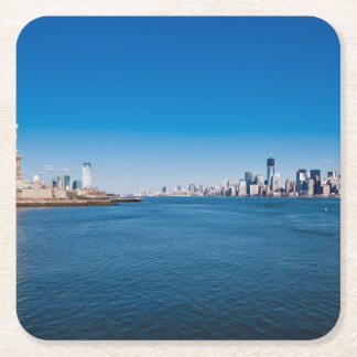Statue of Liberty, Hudson River and Manhattan Square Paper Coaster
