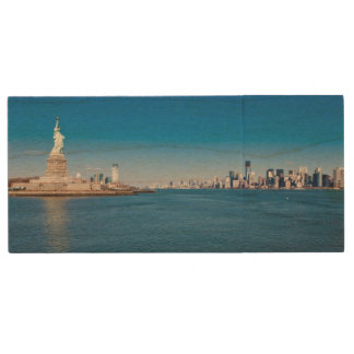 Statue of Liberty, Hudson River and Manhattan Wood USB Flash Drive