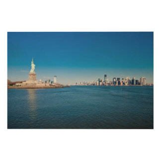 Statue of Liberty, Hudson River and Manhattan Wood Wall Art